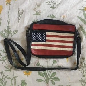 VTG Faux Leather American Flag Crossbody Bag